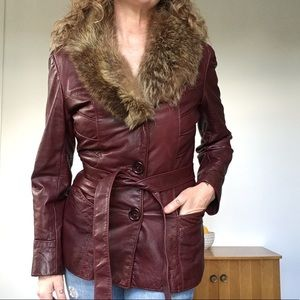 VINTAGE Burgundy Leather Coat Jacket w Fur Trim XS